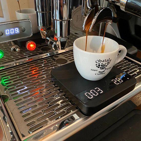 Voor espresso richten we op een extractietijd van ongeveer 26 seconden
